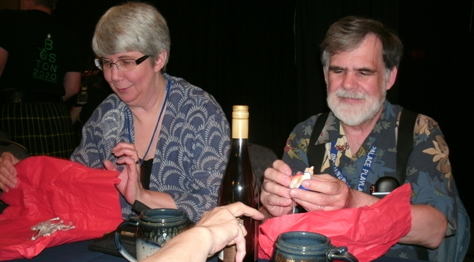 Sharon and Steve at the ConQuest 43 reception where we were gifted with wine, coffee mugs, and neat stuff by the con committee